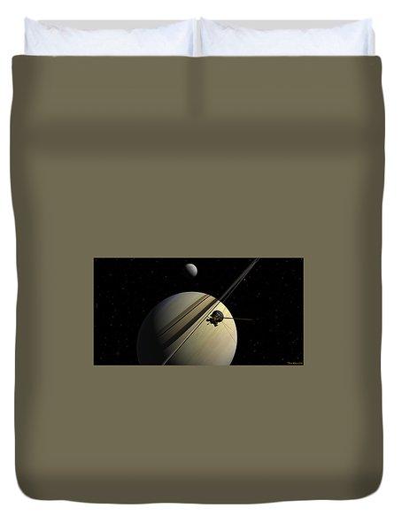 Cassini Passing Tethys Duvet Cover