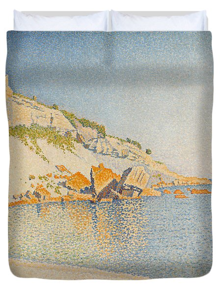 Duvet Cover featuring the painting Cassis. Cap Lombard. Opus 196 by Paul Signac