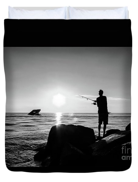 Cast Away Your Troubles Duvet Cover