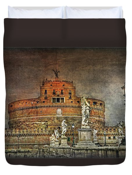 Duvet Cover featuring the photograph Castel Sant Angelo Fine Art by Hanny Heim