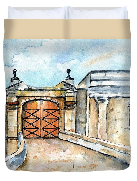 Castillo De San Cristobal Entry Gate Duvet Cover