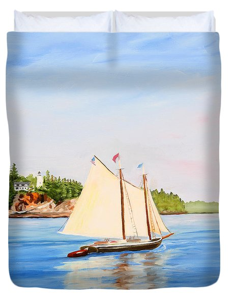 Castine Harbor And Dice Head Light Duvet Cover