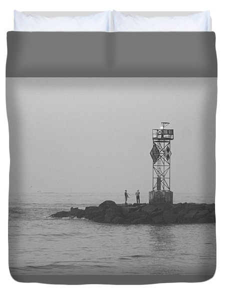 Duvet Cover featuring the photograph Casting At The Inlet Jetty by Robert Banach
