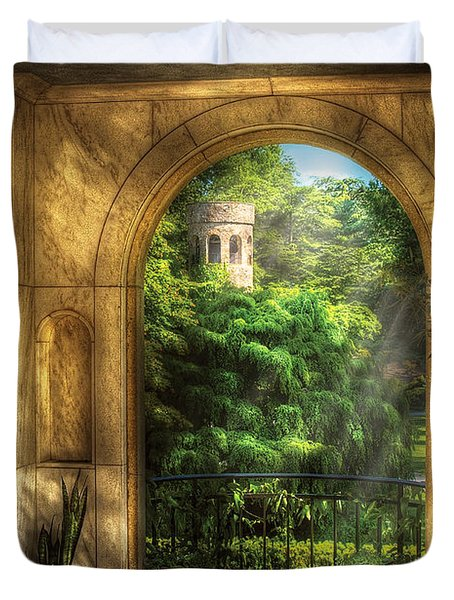 Castle - Just Beyond Duvet Cover by Mike Savad