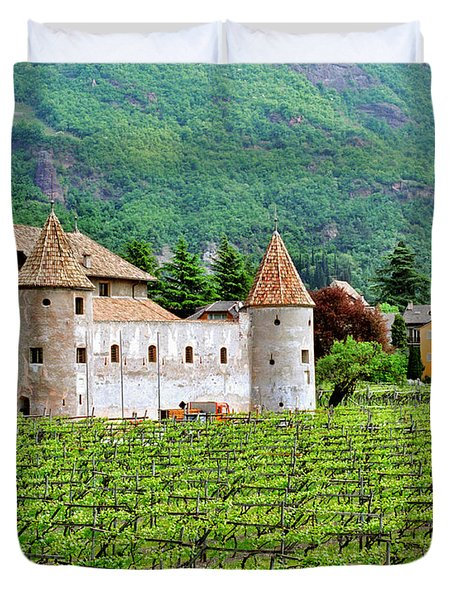 Castle And Vineyard In Italy Duvet Cover by Greg Matchick