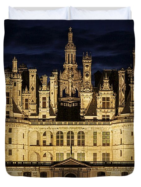 Duvet Cover featuring the photograph Castle Chambord Illuminated by Heiko Koehrer-Wagner