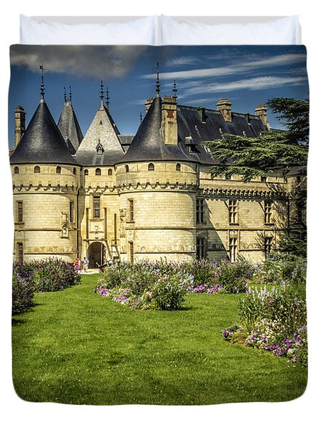 Duvet Cover featuring the photograph Castle Chaumont With Garden by Heiko Koehrer-Wagner