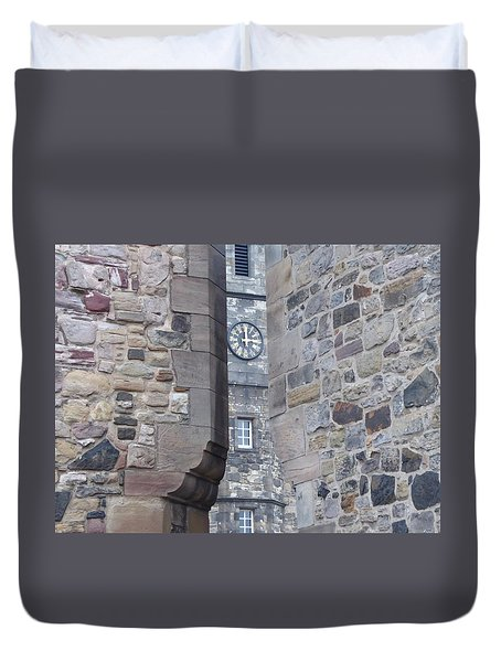 Castle Clock Through Walls Duvet Cover