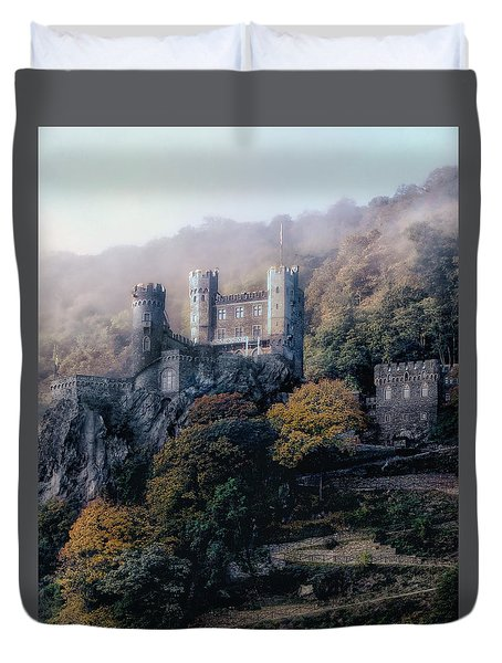 Castle In The Mist Duvet Cover by Jim Hill