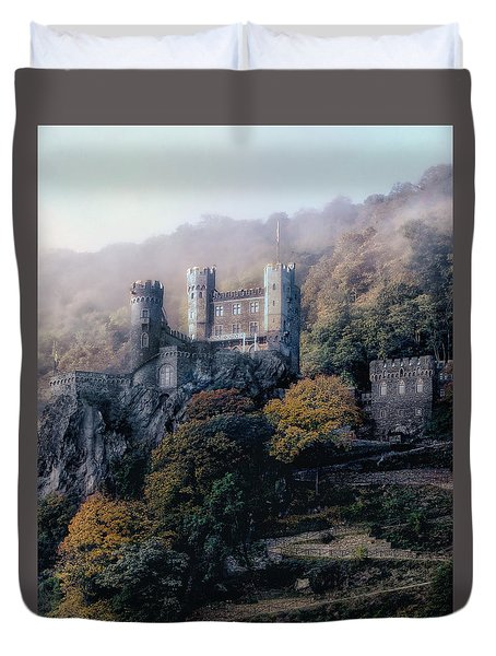 Duvet Cover featuring the photograph Castle In The Mist by Jim Hill