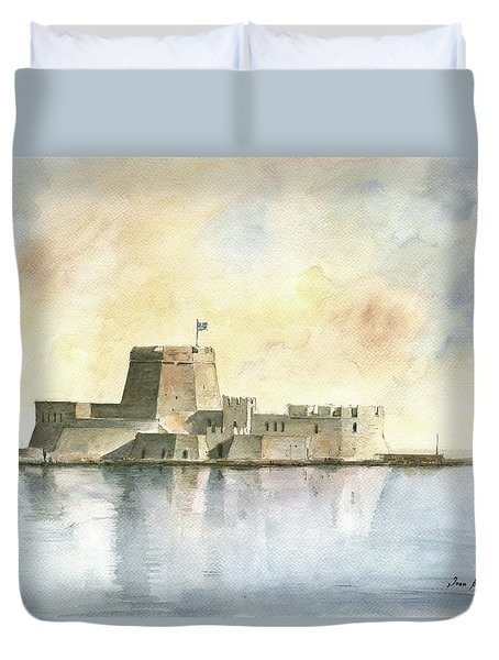 Castle Of Bourtzi In Nafplio Duvet Cover by Juan Bosco