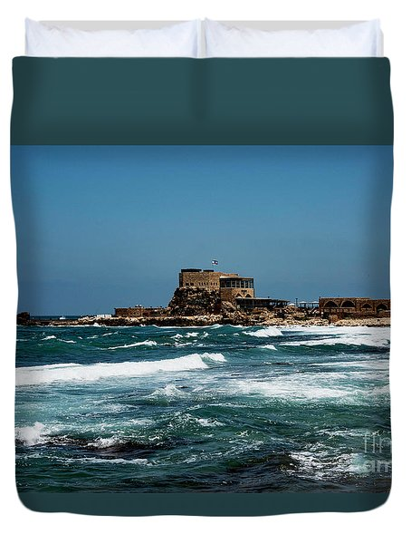 Duvet Cover featuring the photograph Castle Of Herod The Great by Mae Wertz