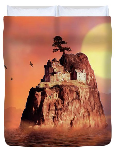 Castle On Seastack Duvet Cover
