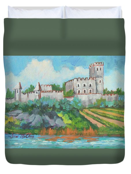 Duvet Cover featuring the painting Castle On The Upper Rhine River by Diane McClary