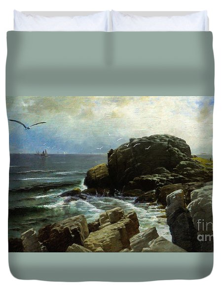 Duvet Cover featuring the digital art Castle Rock - Marblehead by Lianne Schneider