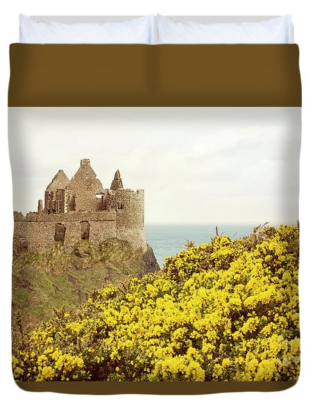 Duvet Cover featuring the photograph Castle Ruins And Yellow Wildflowers Along The Irish Coast by Juli Scalzi