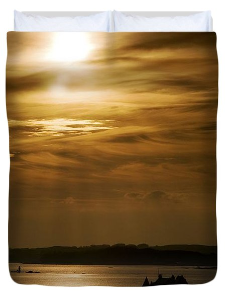 Duvet Cover featuring the photograph Castle Stalker At Sunset, Loch Laich by John Short