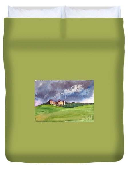 Duvet Cover featuring the painting Castle Under Clouds by Asha Sudhaker Shenoy