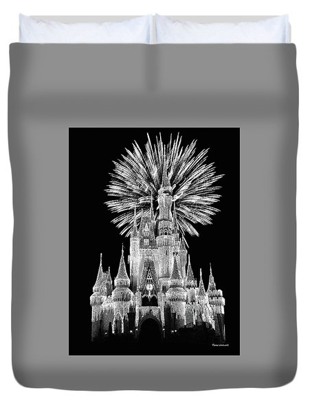 Castle With Fireworks In Black And White Walt Disney World Mp Duvet Cover