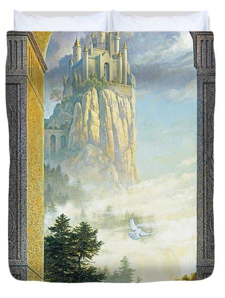 Castles in the Sky Duvet Cover by Greg Olsen