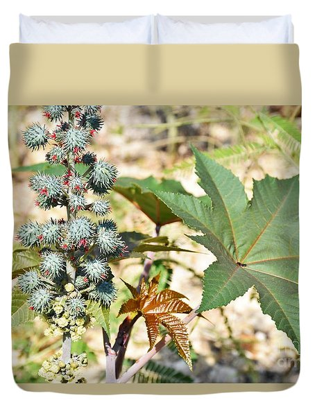Duvet Cover featuring the photograph Castor Oil Plant by Ray Shrewsberry