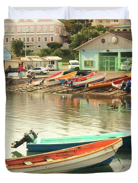 Castries Harbor Waterfront Duvet Cover by Roupen  Baker