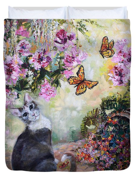 Duvet Cover featuring the painting Cat And Butterflies In Cottage Garden by Ginette Callaway