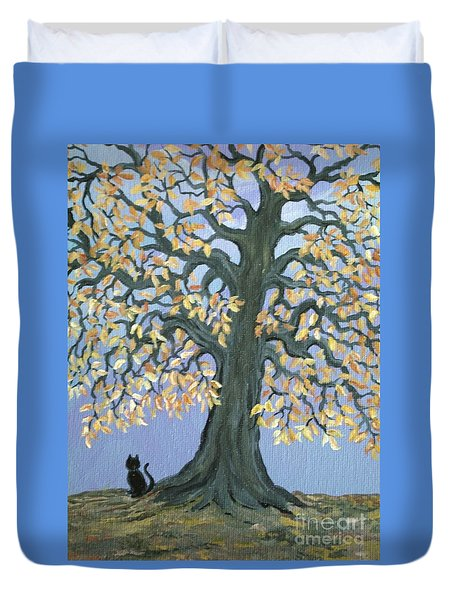 Cat And Crow Duvet Cover by Nick Gustafson