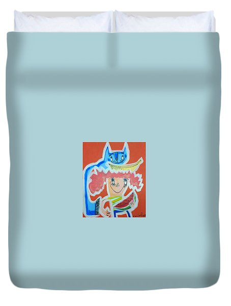Cat And Girl Duvet Cover by Artists With Autism Inc