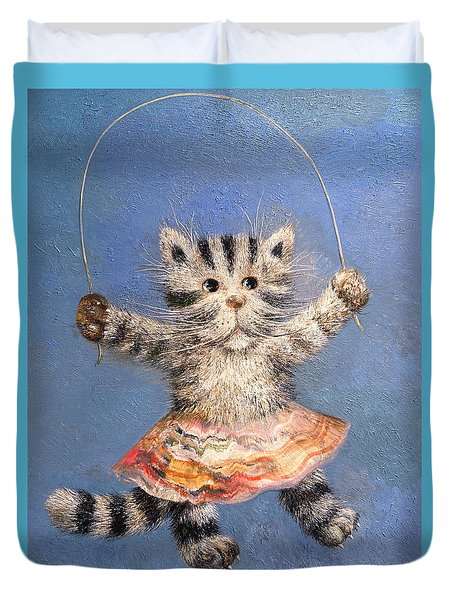 Cat And Skip Rope Duvet Cover