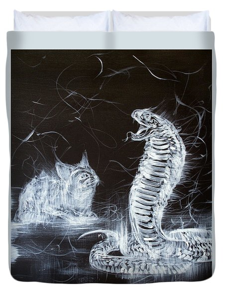 Cat And Snake Duvet Cover by Fabrizio Cassetta