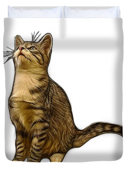 Cat Art - 3771 Wb Duvet Cover by James Ahn