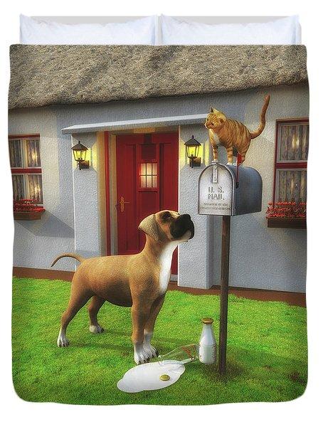 Cat Atop The Mailbox Duvet Cover