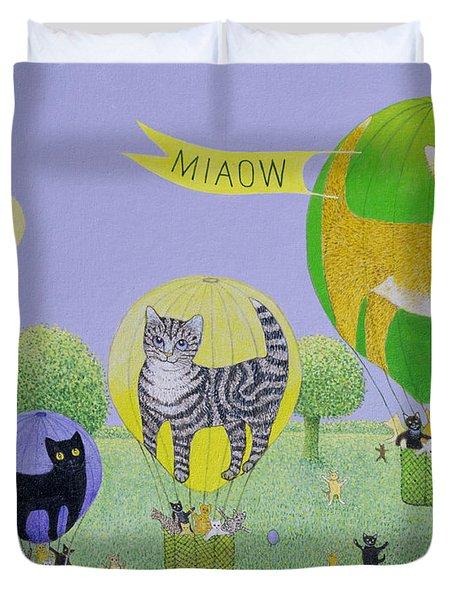 Cat Balloon Race Duvet Cover