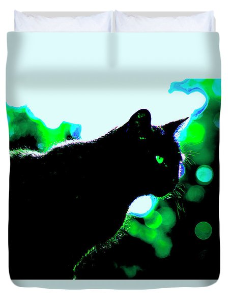 Cat Bathed In Green Light Duvet Cover