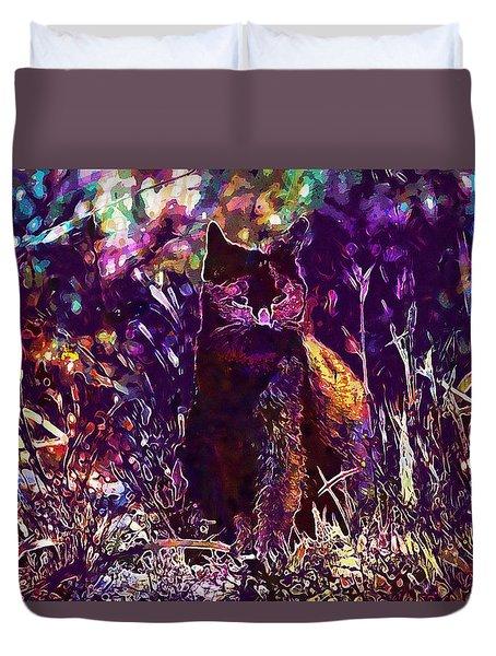 Duvet Cover featuring the digital art Cat Black Sun Meadow  by PixBreak Art