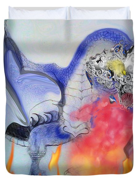 Cat Dragon Duvet Cover