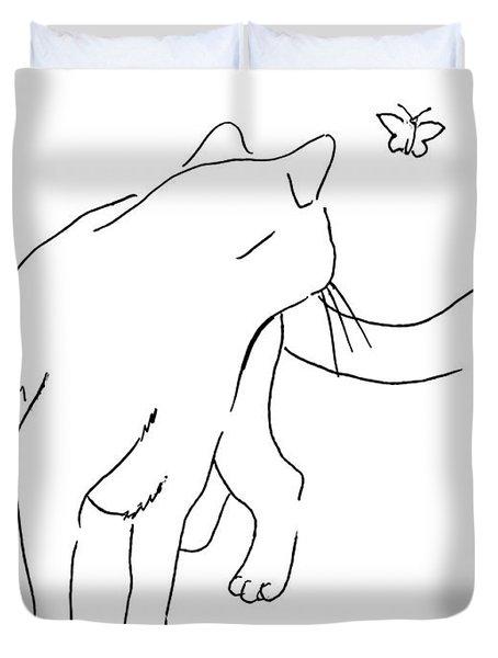 Cat-drawings-black-white-2 Duvet Cover
