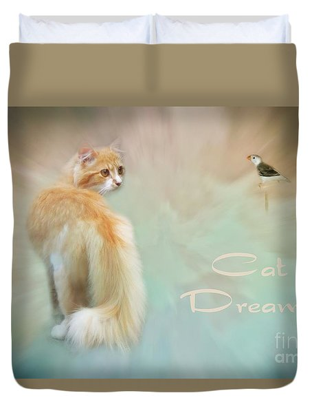Cat Dreams Duvet Cover by Renee Trenholm