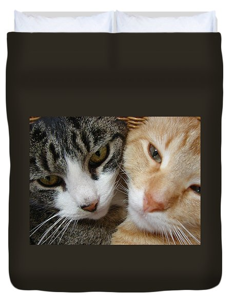 Duvet Cover featuring the digital art Cat Faces by Jana Russon
