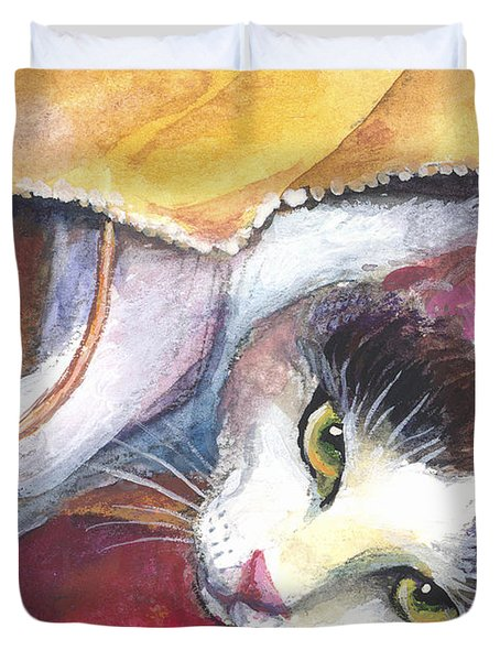 Cat In A Bag Painting Duvet Cover