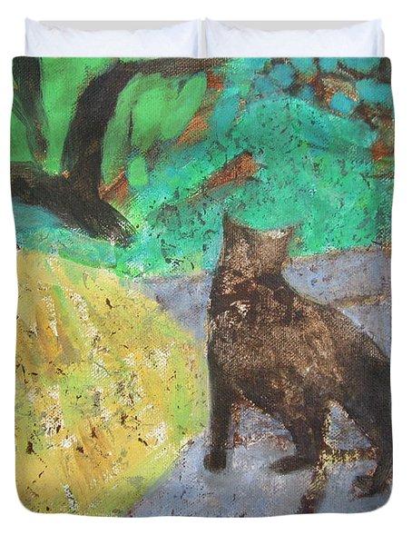 Cat In A Garden Duvet Cover