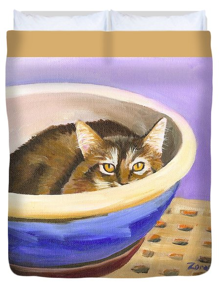 Cat In Bowl Duvet Cover by Mary Jo Zorad