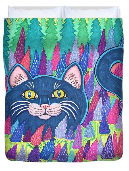 Cat In Field Of Flowers Duvet Cover