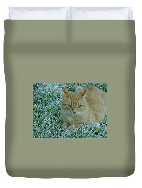 Cat In Frosty Grass Duvet Cover