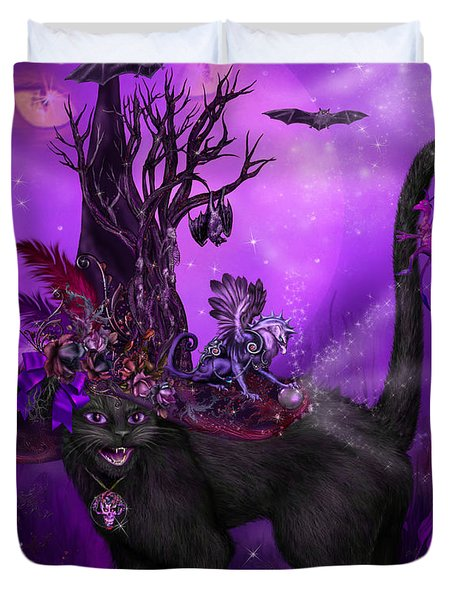 Cat In Goth Witch Hat Duvet Cover by Carol Cavalaris