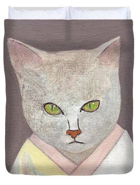 Cat In Kimono Duvet Cover