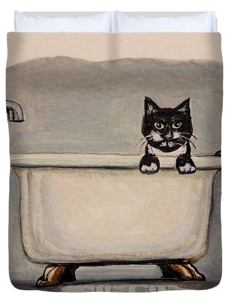 Cat In The Bathtub Duvet Cover