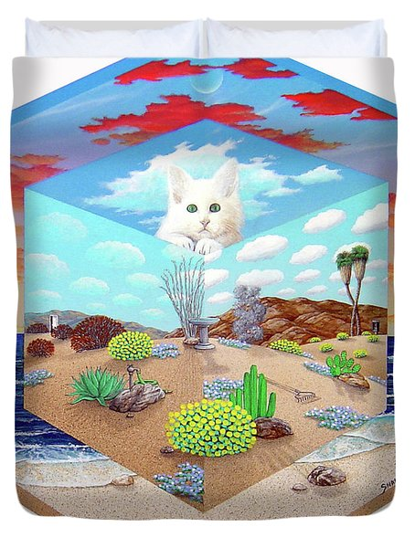 Cat In The Box Duvet Cover by Snake Jagger