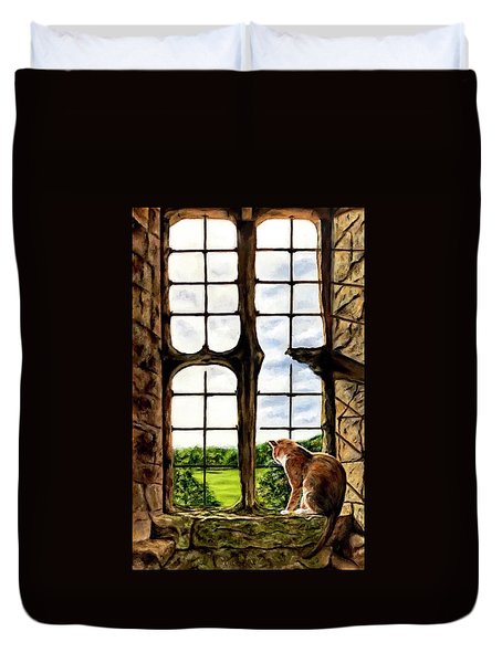 Cat In The Castle Window-close Up Duvet Cover